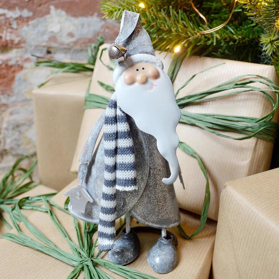 Jiggly Wiggly Metal Santa