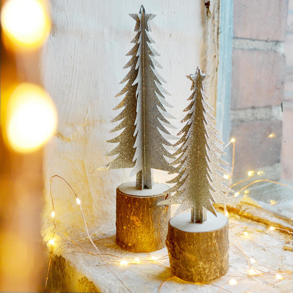 Silver Tree On Birch Log