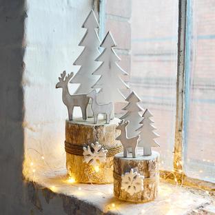 Birch Log Winter Reindeer Scenes