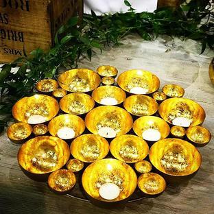 Gold Cluster Tea Light Holder