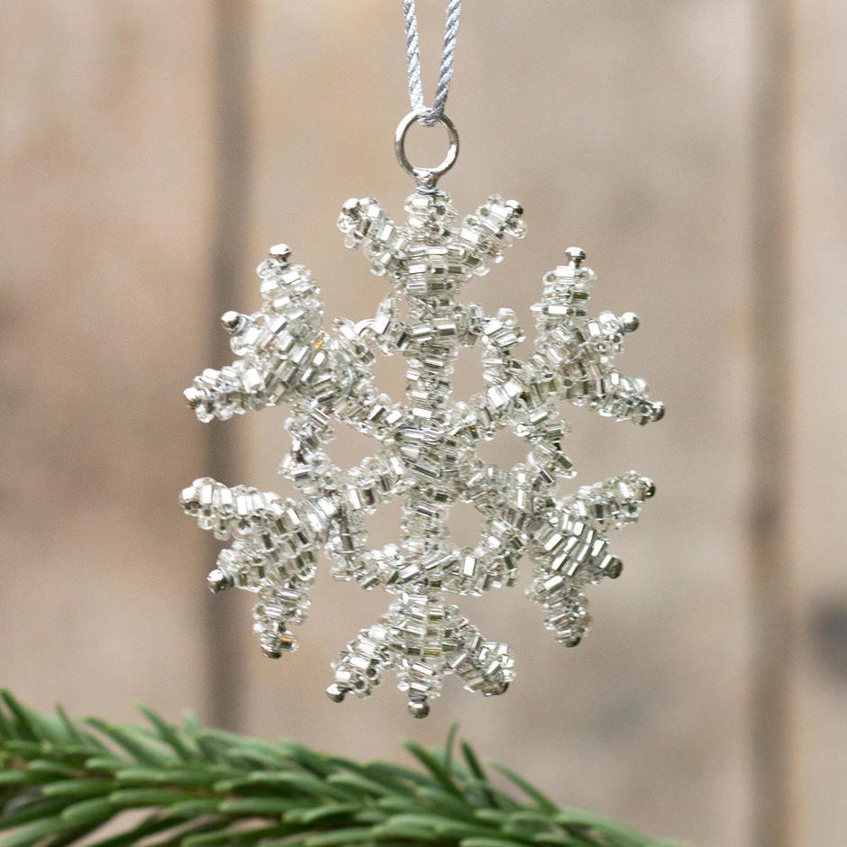 Lavish Glass Beaded Snowflake