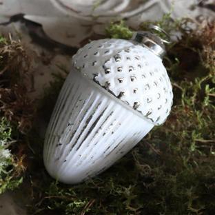 Antiqued White Acorn Bauble
