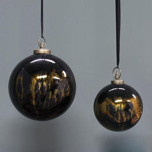 Giant Black Lustre Glass Round Baubles