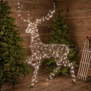 Outdoor Wicker LED Standing Reindeer