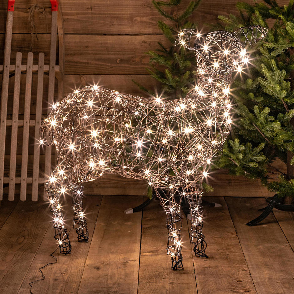 Outdoor Wicker Standing LED Sheep