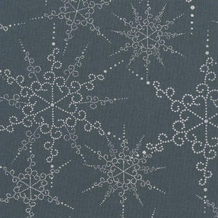Coated Cotton - Snow Flake Midnight Blue
