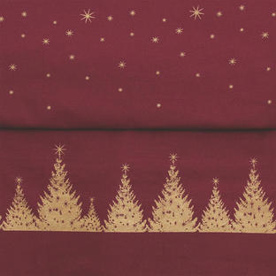 Coated Cotton Burgundy with Gold Christmas Tree