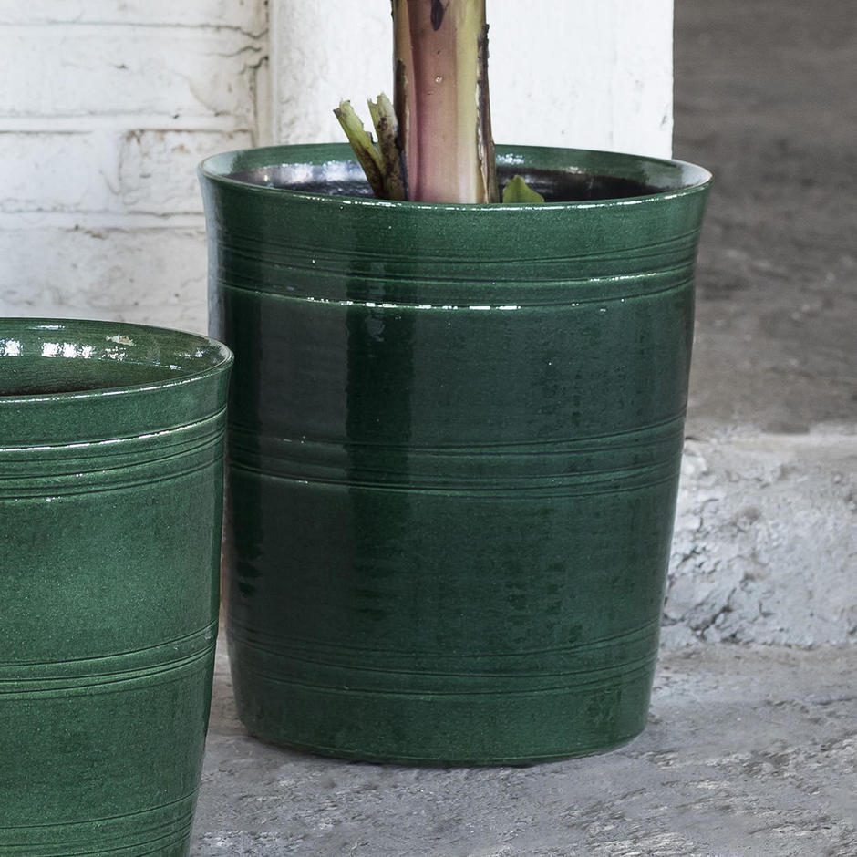 Rich Green Glazed Large Indoor Pot
