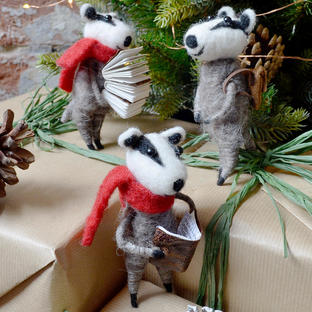 Christmas Badger Decorations
