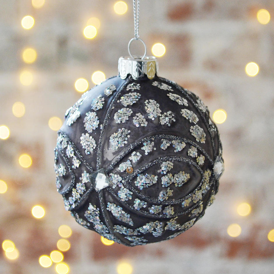 Grey Matt Glitzy Glass Bauble