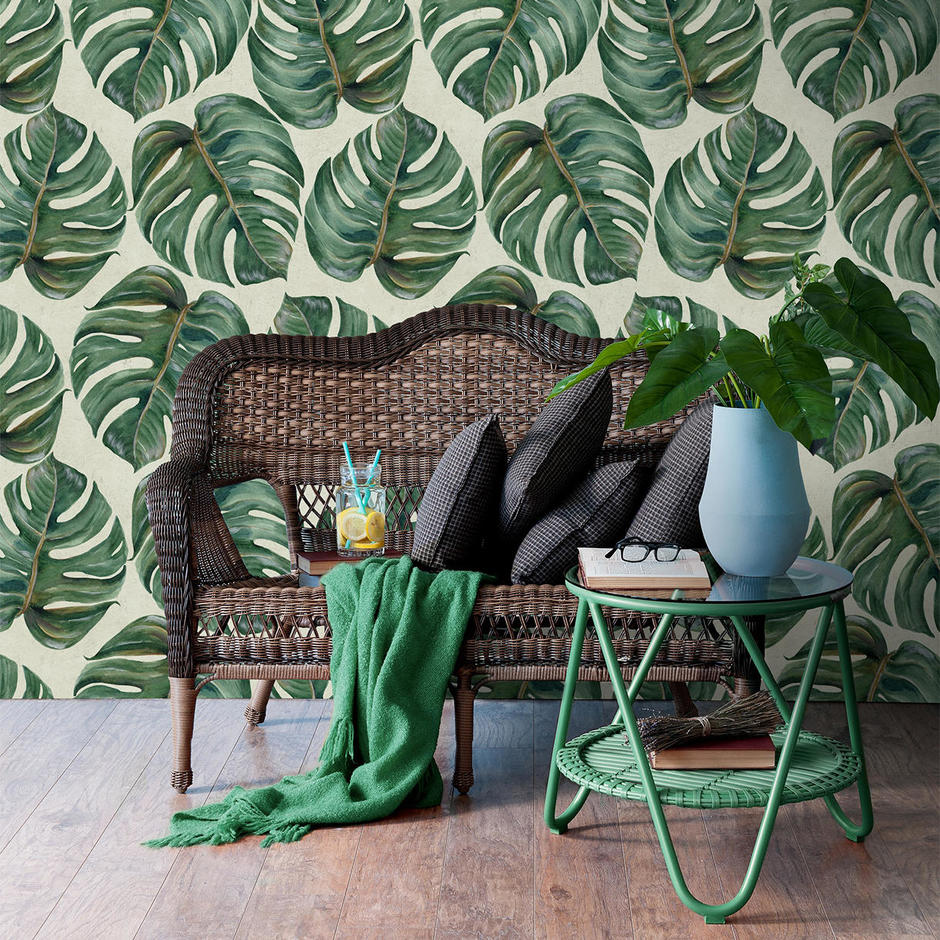 Tropical Leaf Feature Wallcovering