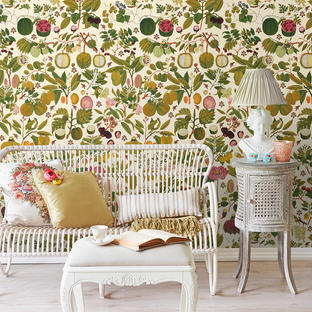 Asian Fruits and Flowers Feature Wallcovering