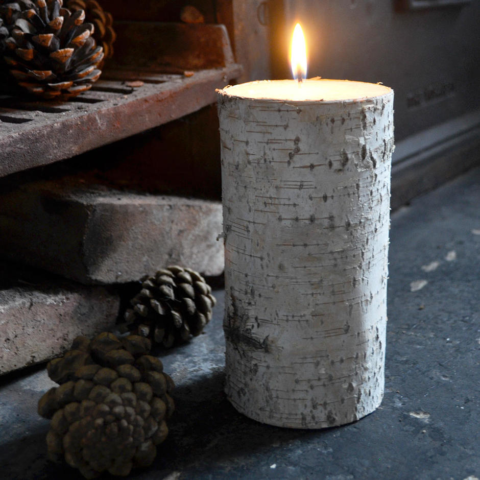 Candle with Silver Birch Bark