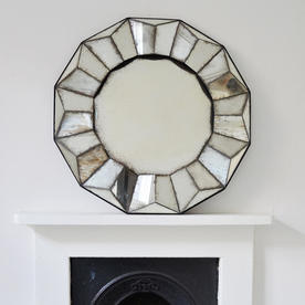 Sunburst Antiqued Round Mirror