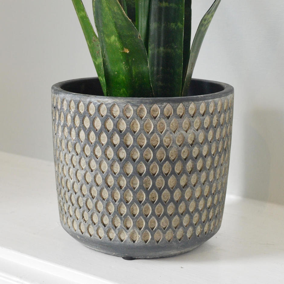 Dimpled Grey Indoor Pot
