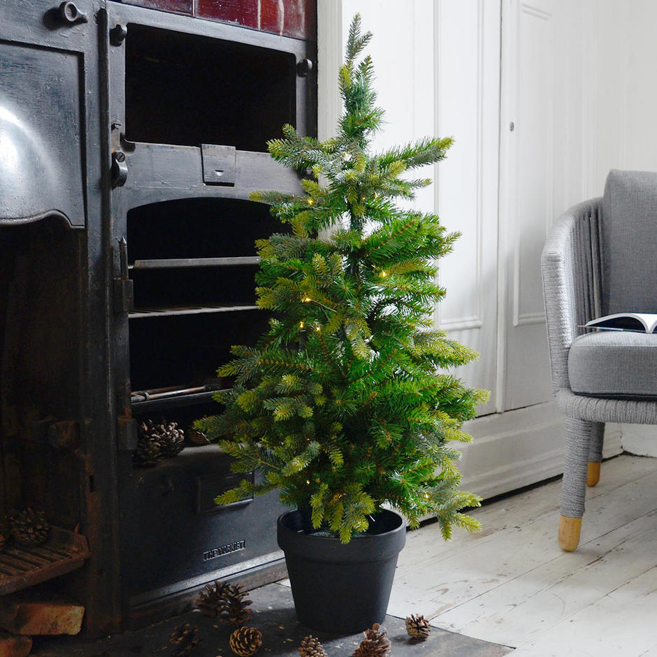 Faux LED Christmas Tree in Pot with lights