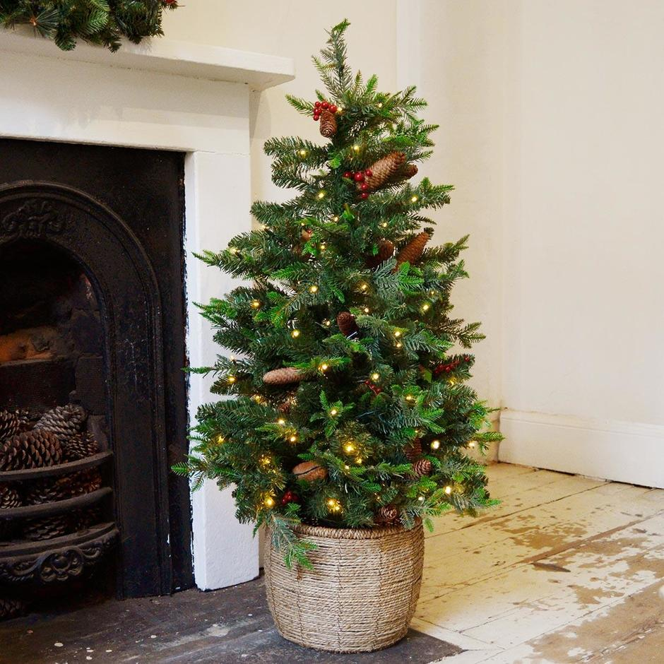 Berry and Pine LED 4ft Christmas Tree in Pot
