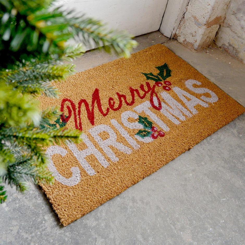 Merry Christmas Coir Doormat