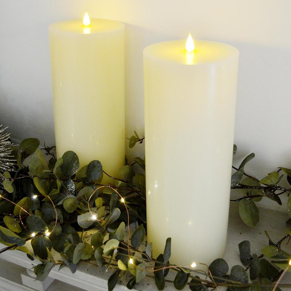 Large Ivory LED Church Candle