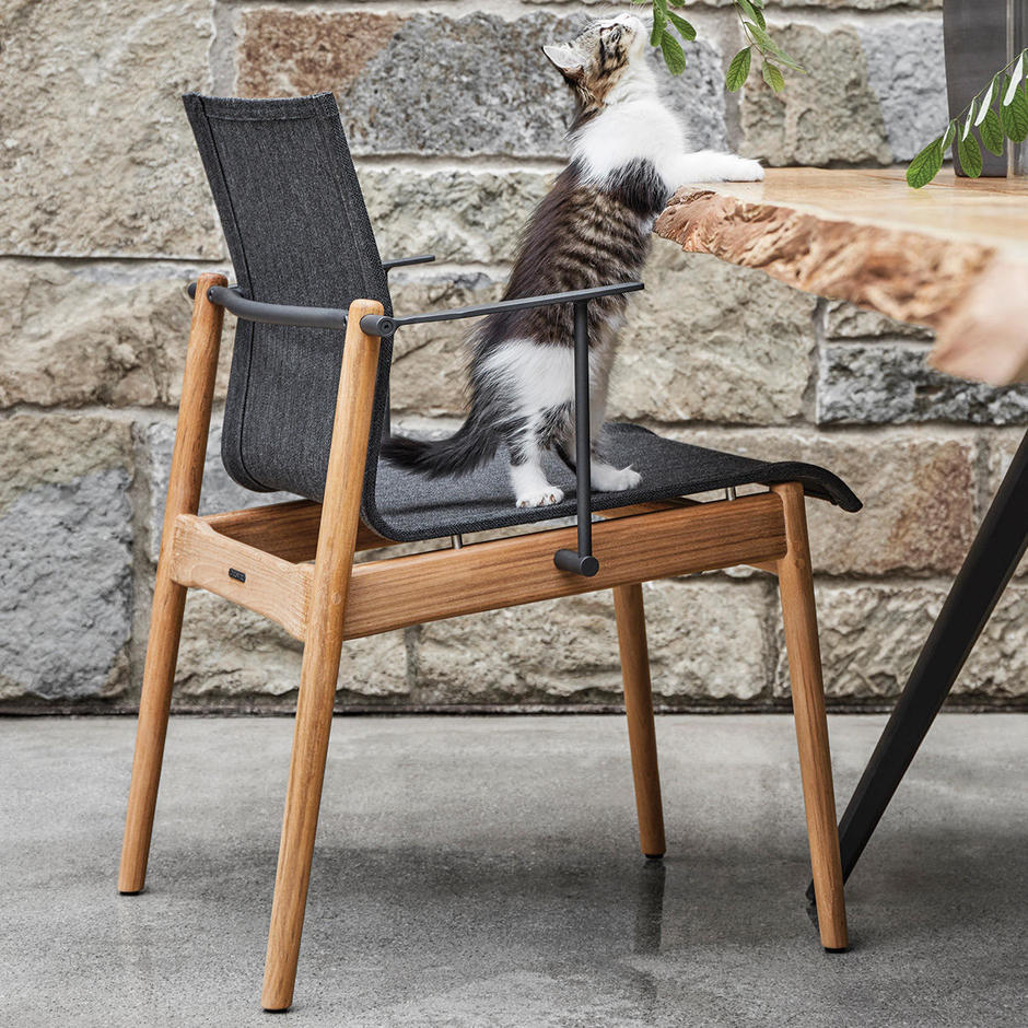 Sway Teak Stacking Chairs with Arms