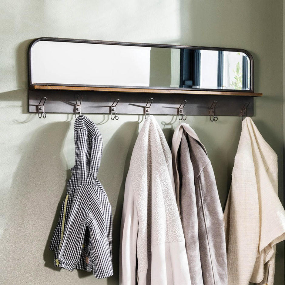 Hallway Coat Hook and Mirror Unit