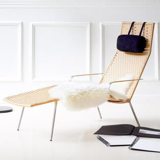 Straw Flat Weave Chaise Lounge