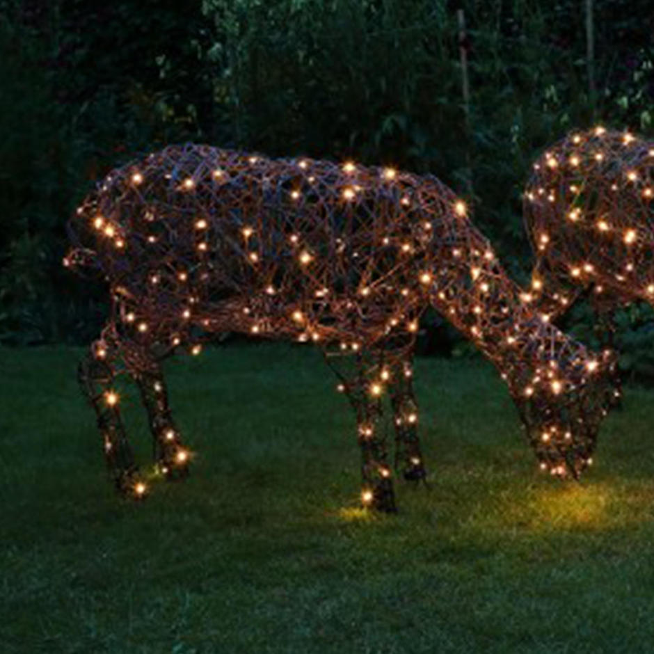 Outdoor Wicker Grazing LED Sheep