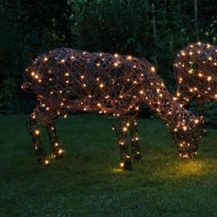 Outdoor Wicker Grazing LED Sheep