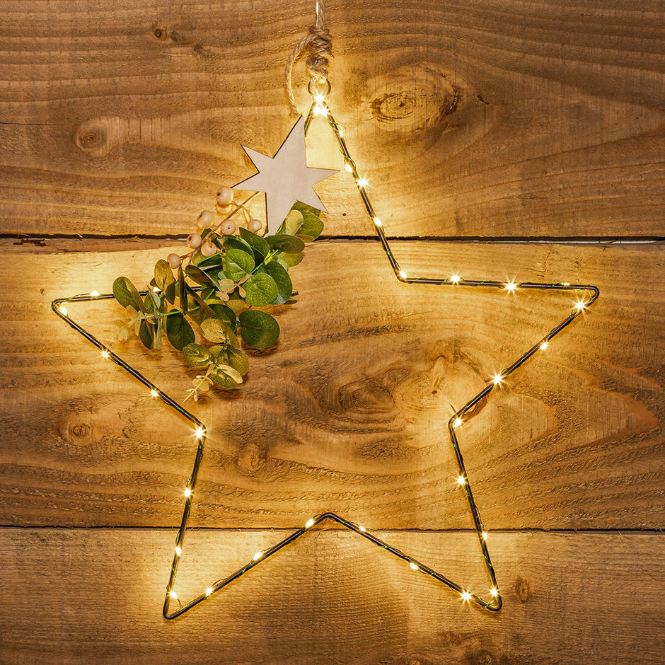 Hanging Wire LED Star with Eucalptus