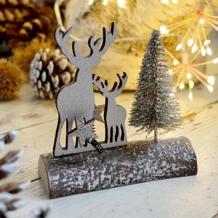 Winter Woodland Scene on Log
