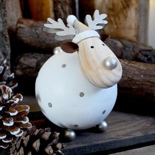 Wooden Snowball Reindeer Decoration