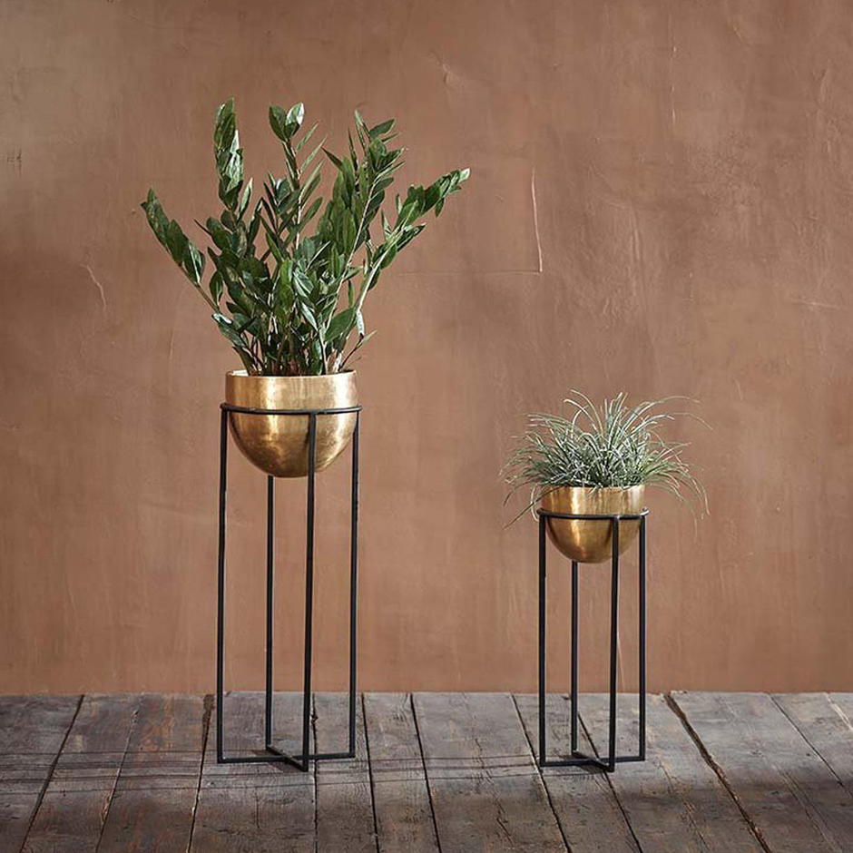 Brass Planters on Iron Work Stand