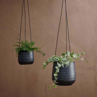 Dark Grey Etched Hanging Planter