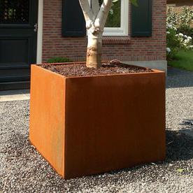 Square Corten Steel Cube Planters