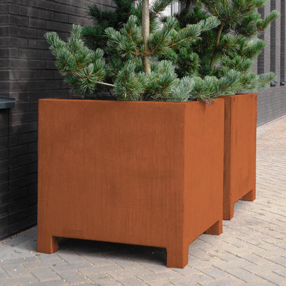 Square Cube Corten Steel Planters with Feet