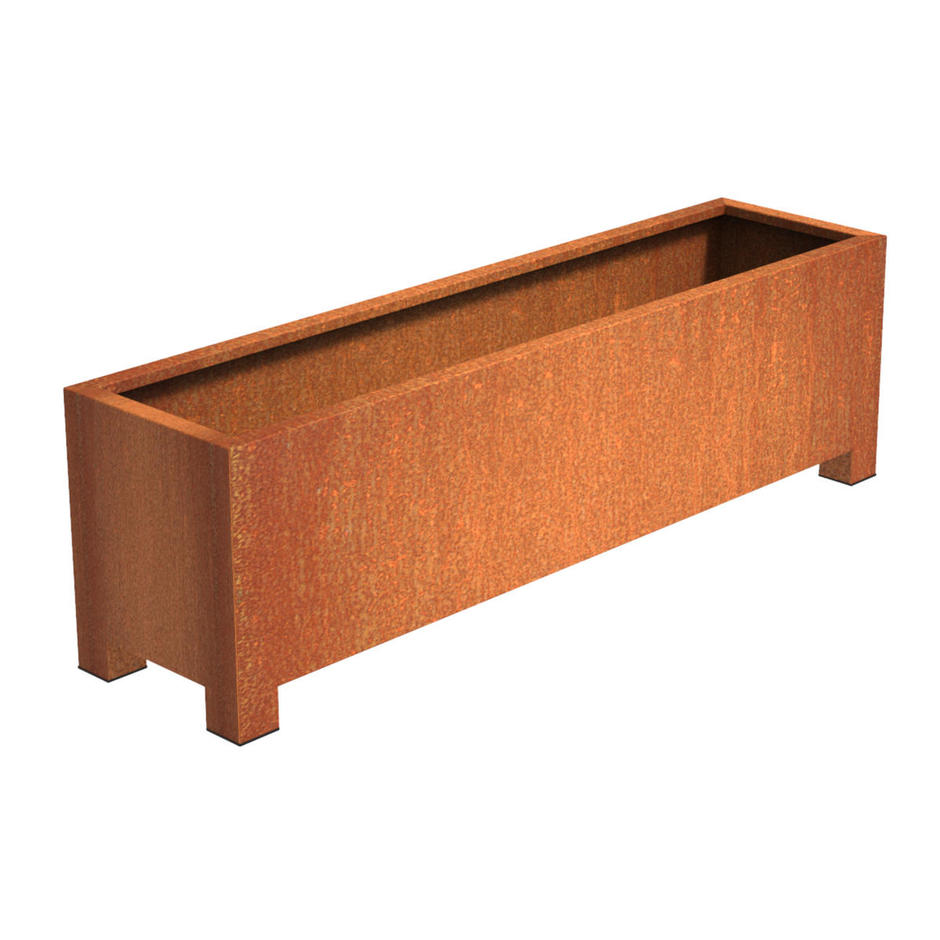 Square Trough Corten Steel Planters with Feet