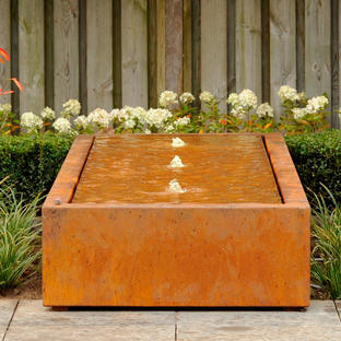 Corten Steel Water Rill Features with Fountain