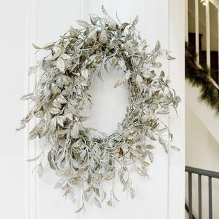 Vintage Silver Glitter Honeysuckle Wreath