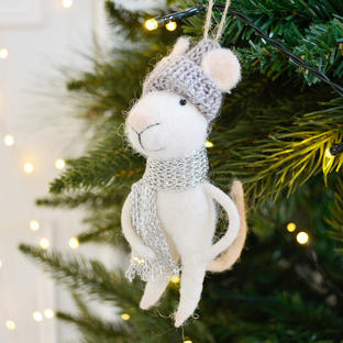 Mouse With Silver Scarf Hanging Decoration
