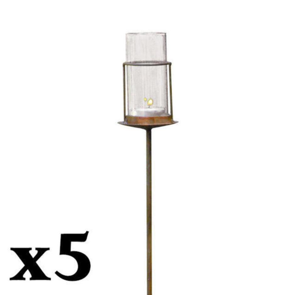 Rustic Glass Tube Tealight Holder - Set of 5