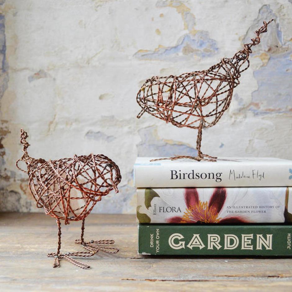 Pair of Copper Wire Bird Sculpture