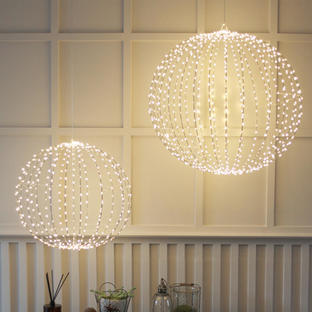 Outdoor LED Silver Decorative Spheres - Set of 2
