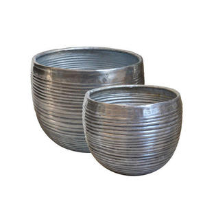 Aluminium Ribbed Finished Planters - Set of Small Planters