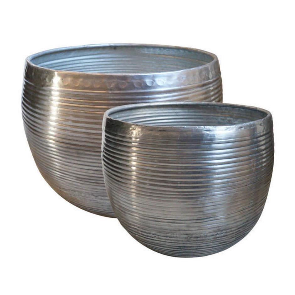 Aluminium Ribbed Finished Planters - Set of Medium Planters