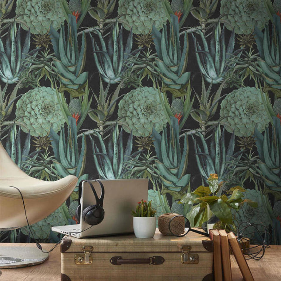 Succulentus Anthracite Feature Wallcovering