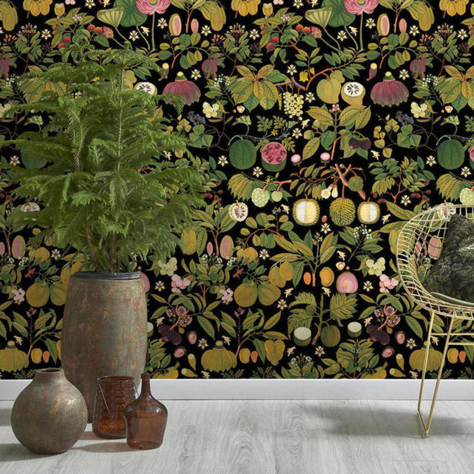 Asian Fruits and Flowers Anthracite Feature Wallcovering