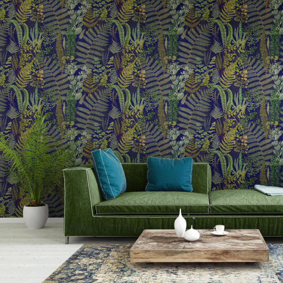 Green Sanctuary Anthracite Feature Wallcovering
