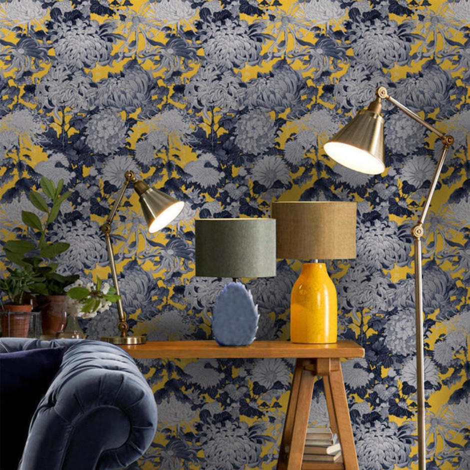 Chrysathemums Yellow Feature Wallcovering