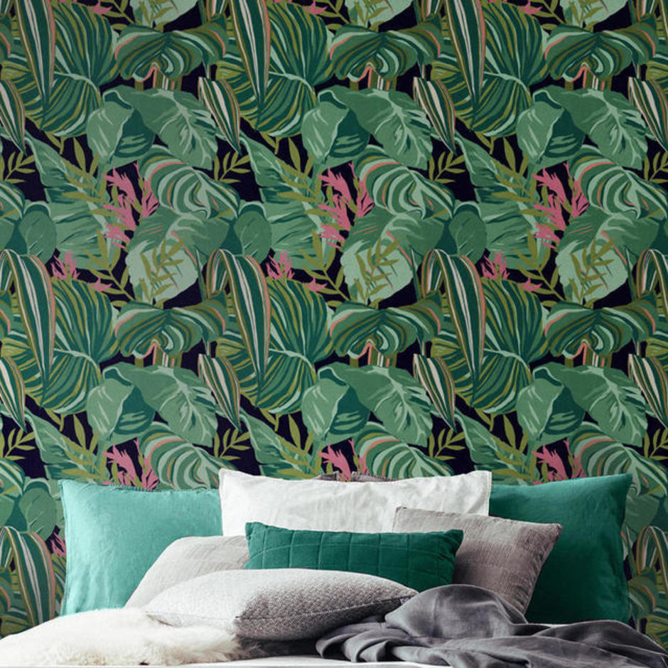 Tropical Foliage Anthracite Feature Wallcovering