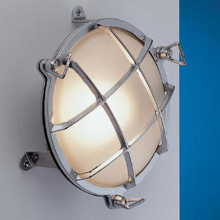 Round Brass Bulkhead Lights with External Fixing Legs